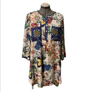 Valerie Stevens colorful floral hi/low tunic, XL